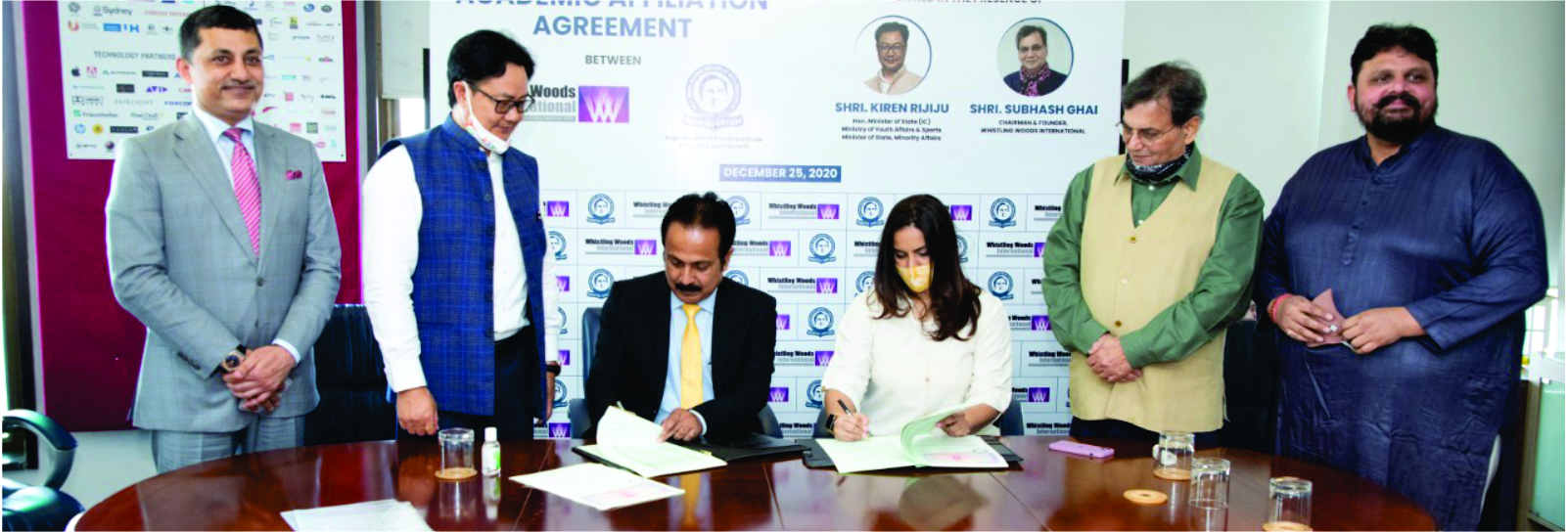 Signing of MoU between RGNIYD and Whistling Woods International, Mumbai for furthering academic excellence
