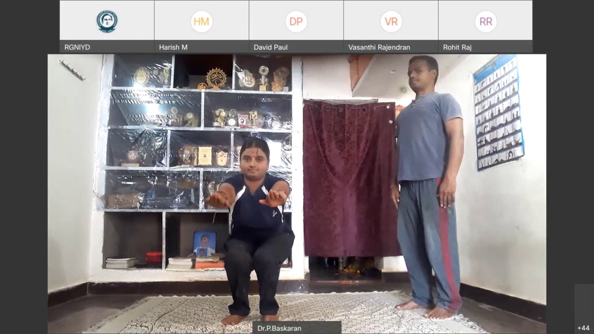 Dr. P. Baskaran, International Yoga Champion and Yoga Expert, Chennai demonstrating simple Yoga Poses for overcoming sedentary lifestyle during Corona Pandemic period by staying at home
